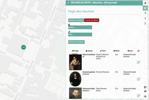 Capture d'écran du filtrage sur un groupe d'oeuvres