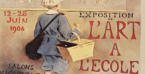 """Affiche """"Exposition de l'art à l'école"""", Etienne Moreau-Nélaton illustrant l'article Annuaire des formations"""