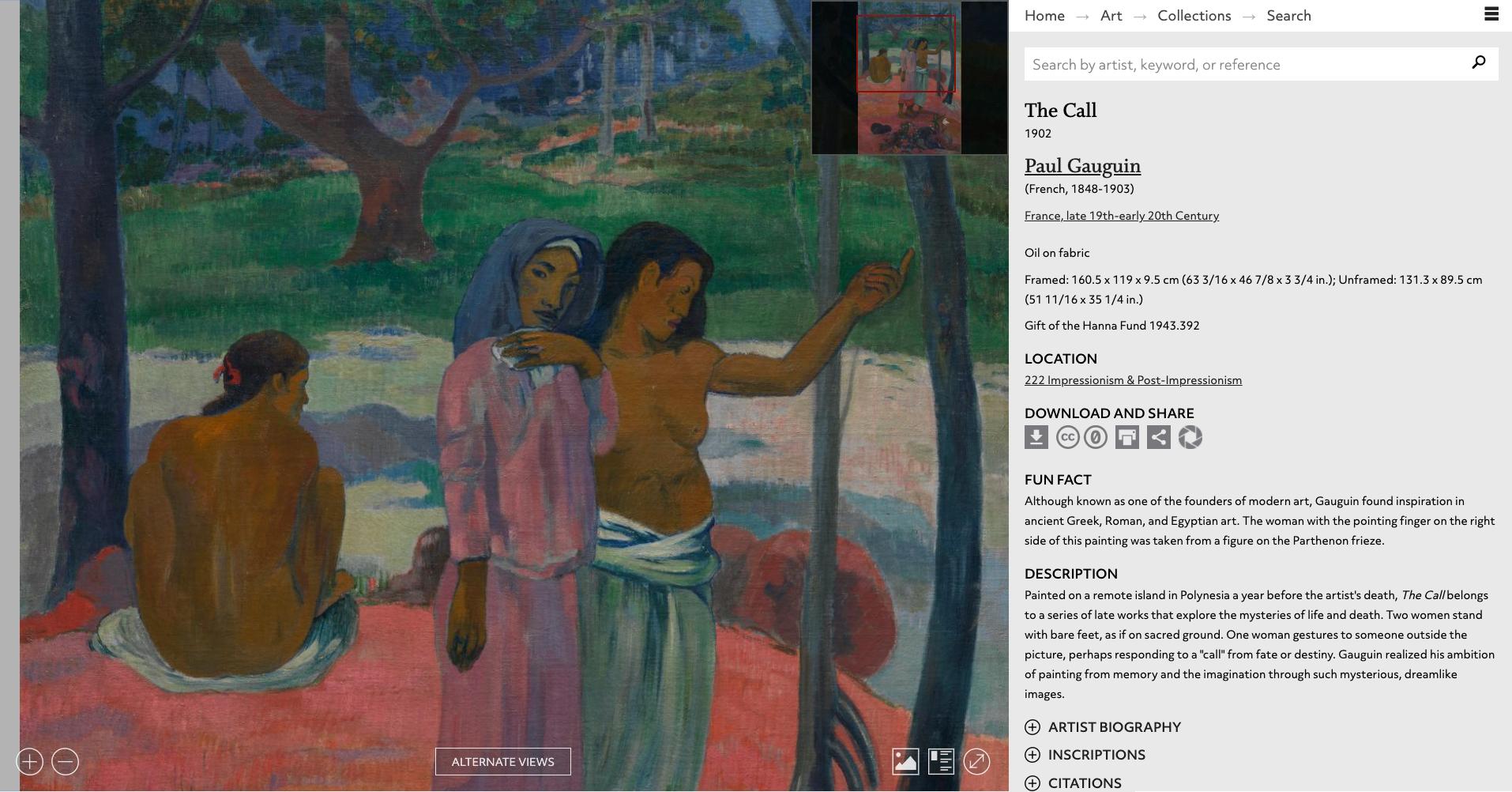 Interface des collections du Musée de Cleveland : affichage d'un détail d'un tableau de Gauguin