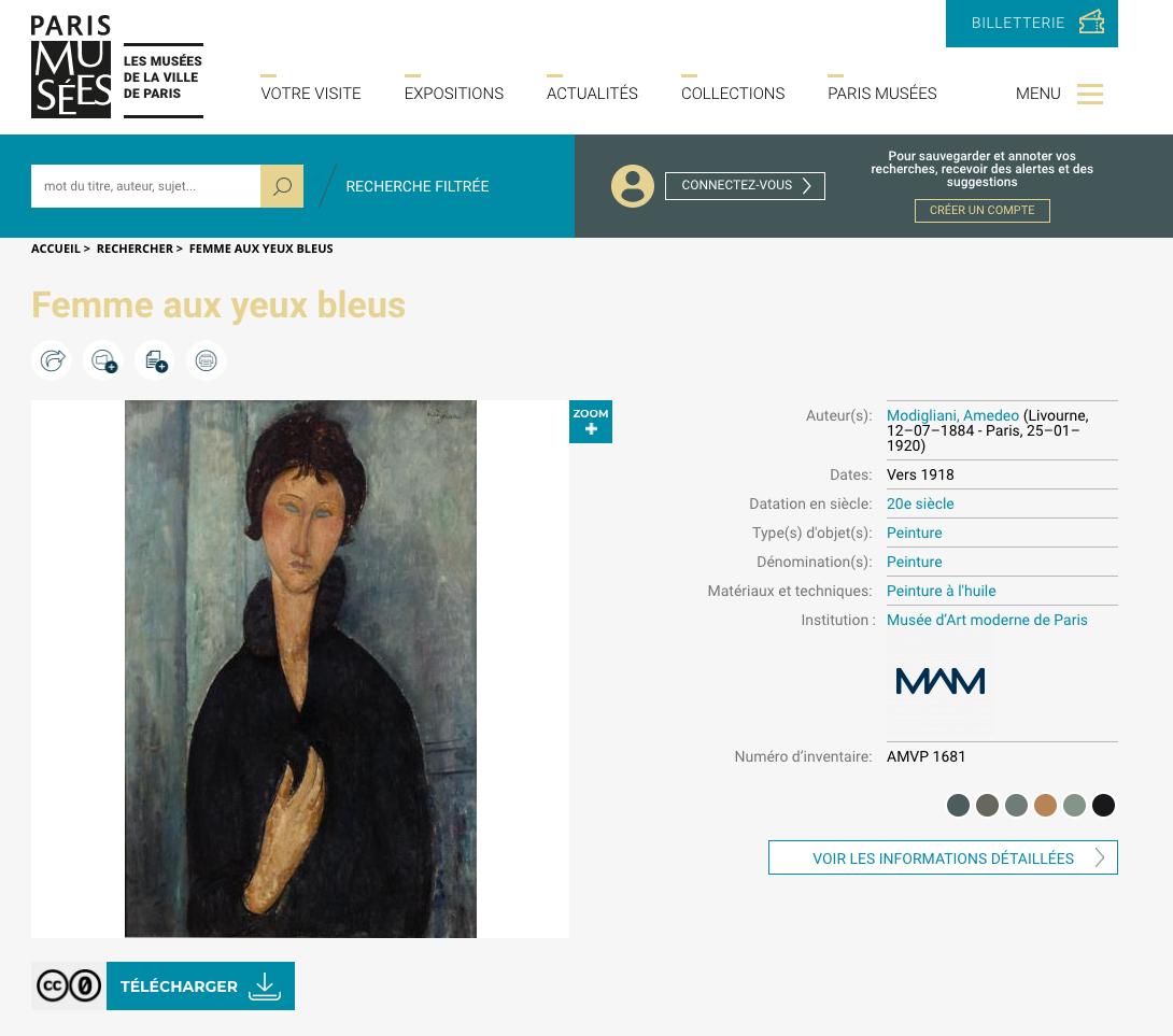 Interface des collections numérisées de Paris Musée : la Femme aux yeux bleus de Modigliani