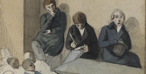 """Détail, dessin """"Groupe d'étudiants suivant un cours"""" d'Eugène Delacroix"""